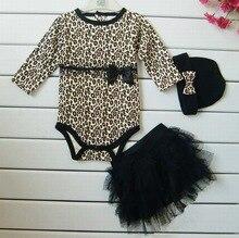 Léopard bébé fille vêtements 3 pc ensembles: à manches longues barboteuses + tutu jupe dress + bandeau (chapeau) automne enfants filles vêtements costume