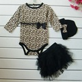 Leopardo Bebê Menina Conjuntos de Roupa 3 PC: Manga Comprida Macacão + Saia Tutu Vestido + Headband (chapéu) outono Crianças Roupas Meninas Terno