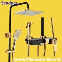 Senducs Digital Shower Set Luxury Intelligent Thermostatic Bathroom Shower System Quality Brass Bathtub Faucet Gold Shower Set