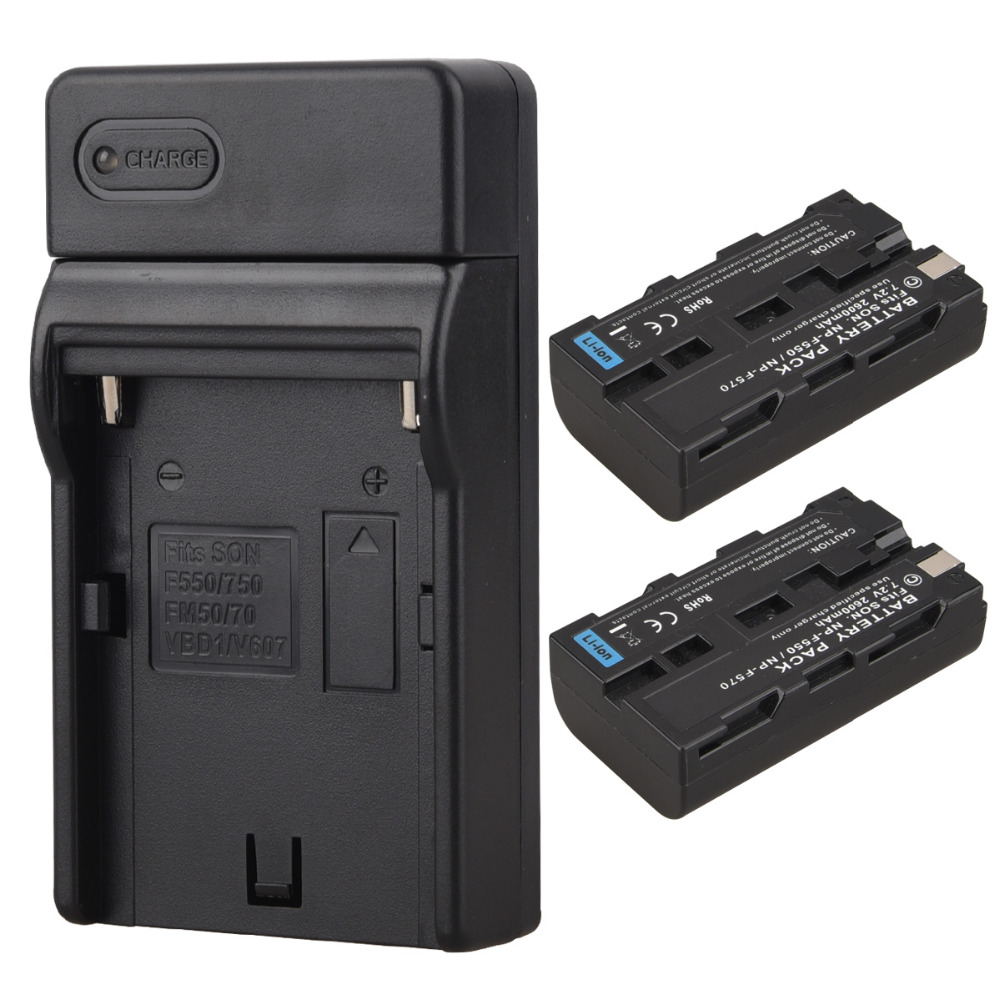 2x2600 mAh NP f550 NP f570 recargable vídeo Cámara batteria Pack para Sony np-f550 np-f570 batería digital Baterías + cargador
