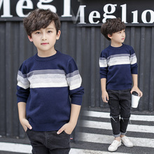 boys sweaters and pullovers Knitted Long Sleeve Shirt For Teenage Boy Autumn Round neck stripe sweater Children's Costume Kids