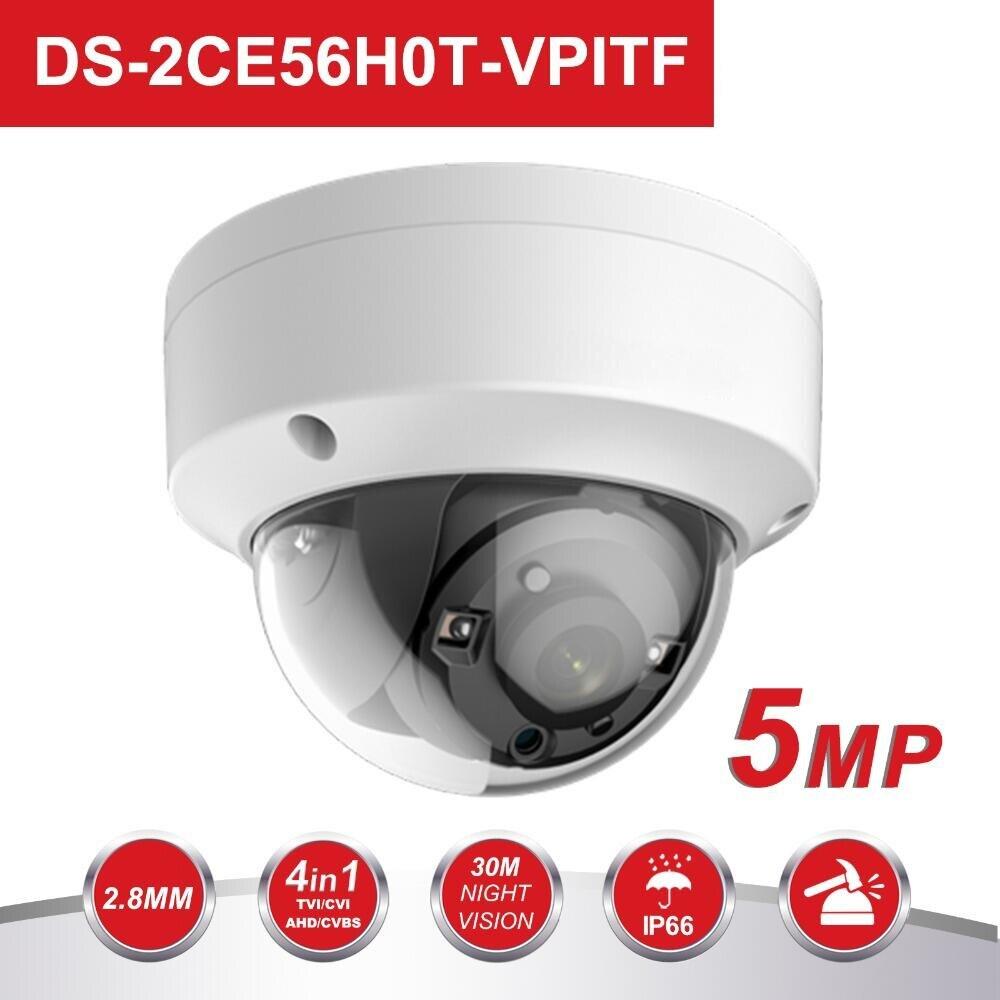 Original HIK 5MP TVI/AHD/CVI/CVBS Switch 4 IN 1 Surveillance Analog Camera DS-2CE56H0T-VPITF 20m IR Distance CCTV Cameras System