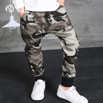 WENDYWU 2017 NEW Autumn Clothing Hip Hop Dance Harem Black camouflage Leisure Sports Pants kids Boys Big Crotch stripe Pants