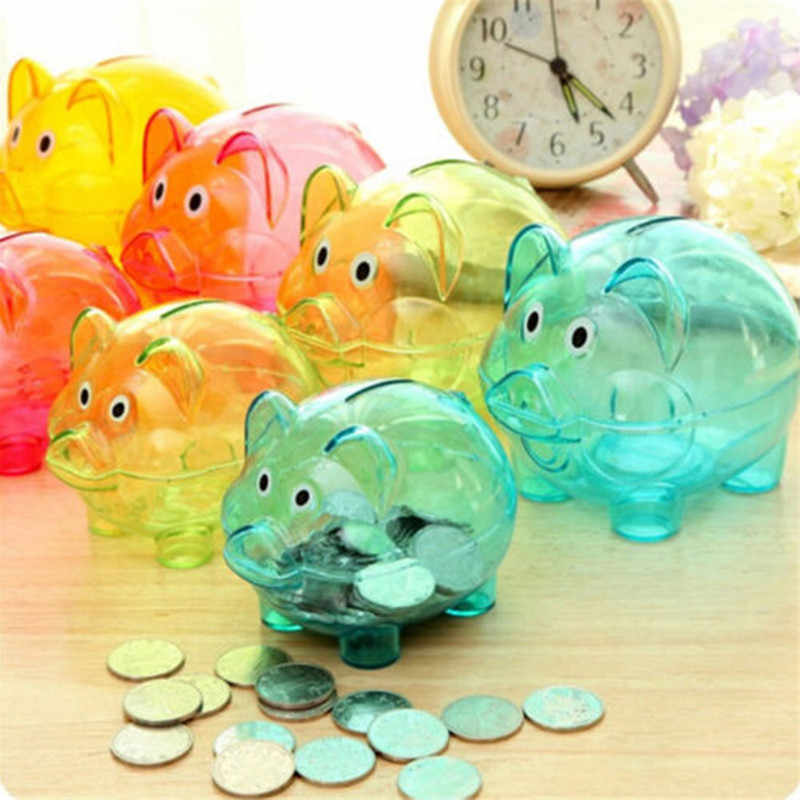 New Cute Transparent Plastic Piggy Bank Birthday Gift Money Box Kid's Candy Machine Dolls Coin Boxes Toys Home Decor