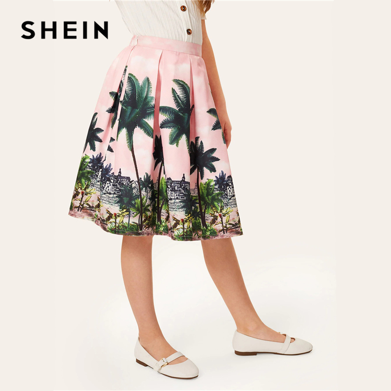 SHEIN Kiddie Girl Elastic Waist Tropical Print Pleated Cute Skirt Kids Bottom 2019 Summer Holiday Knee Length Flared Boho Skirts burgundy flared long sleeves pleated loose blouse