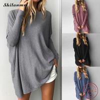 2017 fashion tee shirt femme autumn winter bating sleeve causal loose women t shirt tops solid cotton famale irregular tee shirt