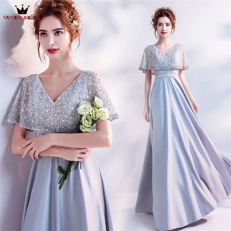 A-line V-neck Crystal Beaded Pearls Long Formal Silver Evening Gowns ...