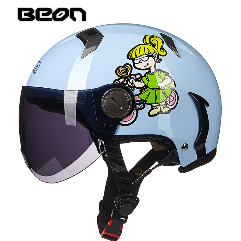 Motorbike Half Helme For Women And Men,beon B102 Vintage Kick Scooter Motorcyclist Dirt Bike Helmet Comfortable Feel Protective Gear Ingenious Retro Electric Motorcycle