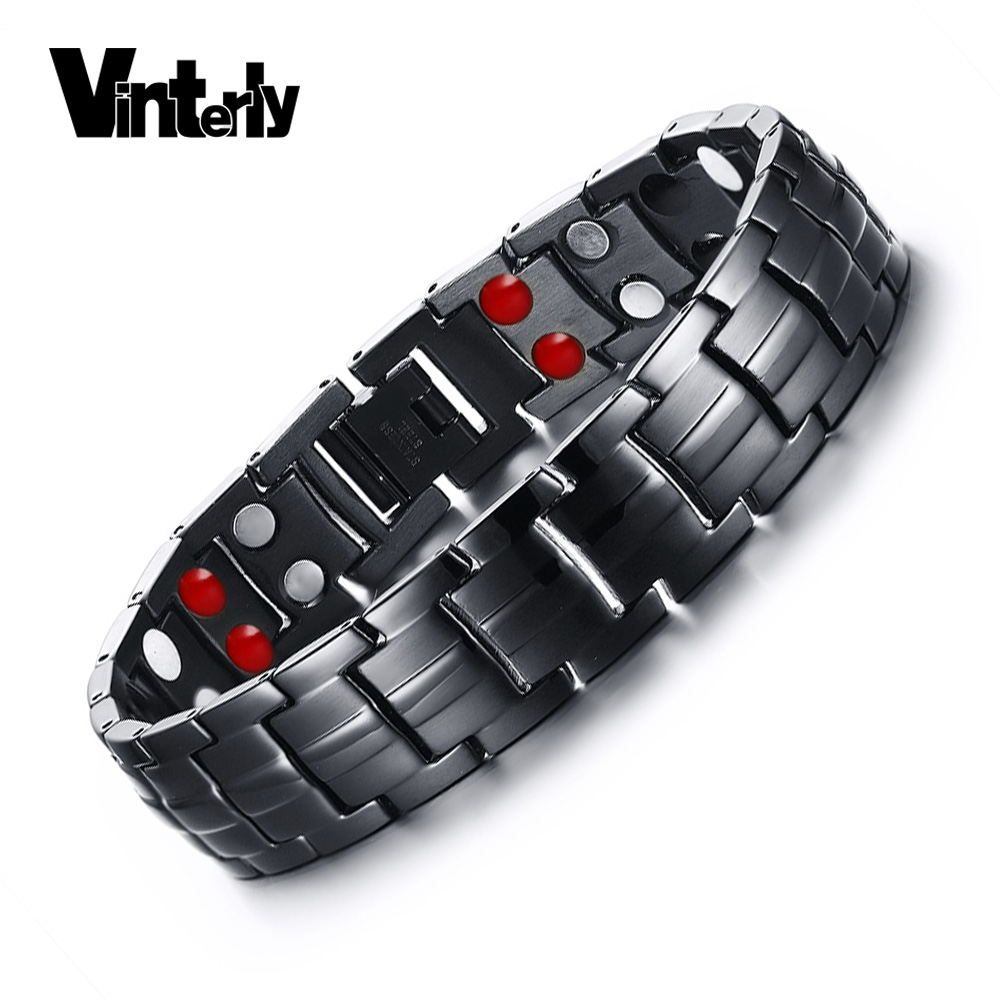 Vinterly Black Magnetic Stainless Steel Bracelets For Man