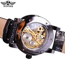 Winner Black Gold Male Clock Men Relogios Skeleton Mens Watches Top Brand Luxury Montre Leather Wristwatch Men Mechanical Watch