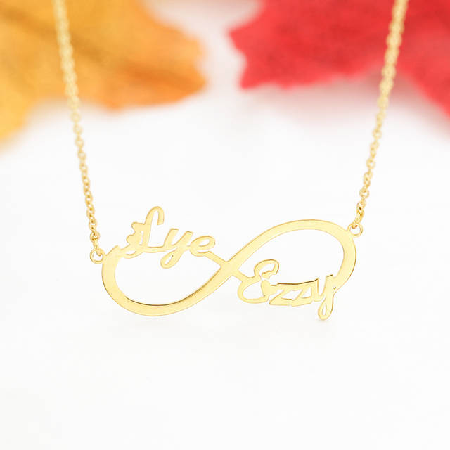 e720c71dd4ecb Custom Two Names Infinity Necklace Personalized Boho Infinity Double  Nameplate Pendant Choker Necklace Jewelry Gifts For Women
