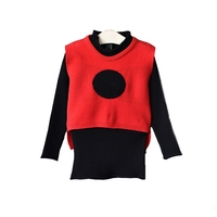 Baby girl vest vest dress new autumn children's round neck wool long section of self-cultivation knit dress two-piece 8803