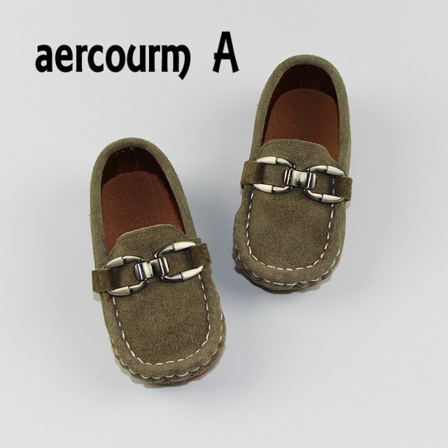 Aercourm A 2017 Spring Children Genuine Leather Shoes Boys Flat Soft Bottom Shoes Solid Toddler Sneakers Kids Metal Rivet Shoes