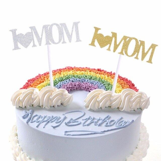 Me Encanta Papa Mama Cupcake Cake Topper Brillo Shimmer Cumpleanos