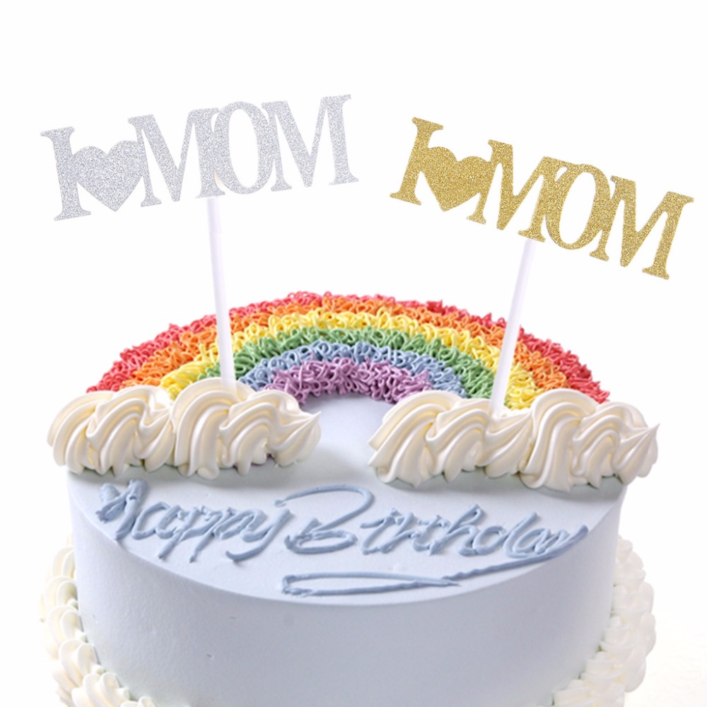 Saya Suka Ayahibu Cupcake Kue Topper Glitter Shimmer Ulang Tahun Ayahibu Hari Party Decor Pasokan Menghias Kue
