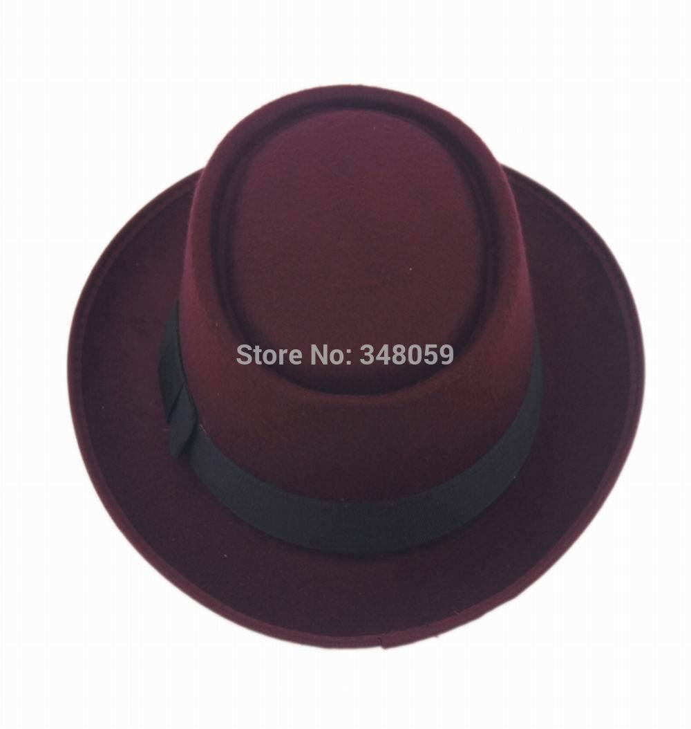 2015 Fashion Men Classic Felt Pork Pie Porkpie fedora Hat Chapea Cap Upturn Masculino Black Ribbon Band panama hats 6