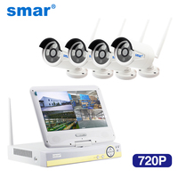 Smar New 10 Inch Displayer 4CH 720P Wireless CCTV System Wireless NVR IP Camera IR CUT