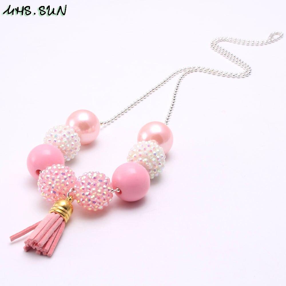 BN599-1 (4),$1.8-1PC,50g. Fashion Kids Girls Chunky Bubblegum Beaded Necklace RedPink Tassel Pendants Handmade Children Long Chain Necklace 1pcJPG