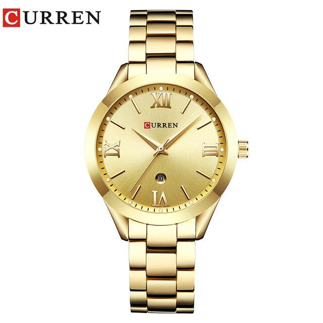 Curren Montres De Luxe Femmes En Acier Plein Quartz Montre Mode Casual Dames Robe élégance horloge Montre-Bracelet relogio feminino 9007