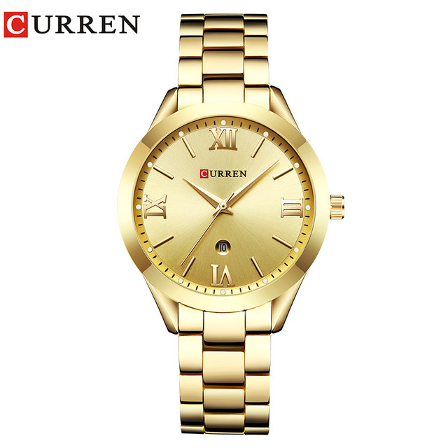 Curren Watches Luxury Women Full Steel Quartz Watch Fashion Casual Ladies Dress
