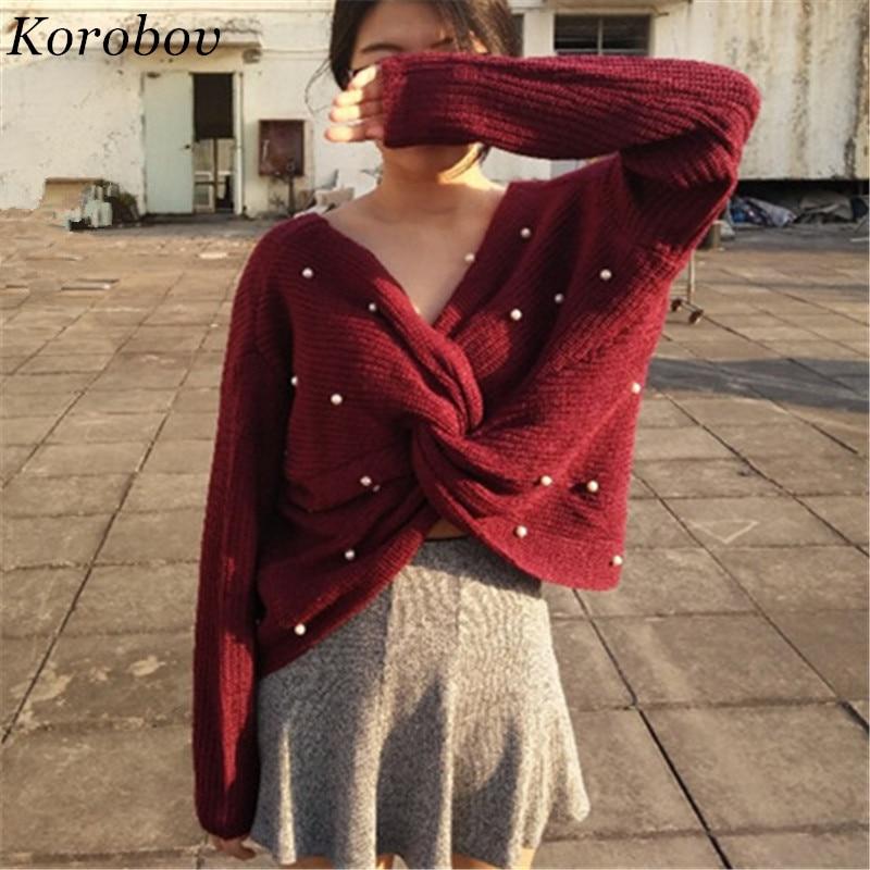 Korobov Women Sweater Knitwear Loose Casual Femme New-Arrival Short Mujer Auttum Beading