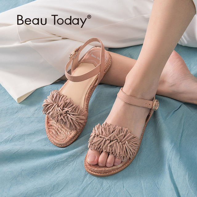 BeauToday Summer Sandals Sheepskin Genuine Leather Fringe Detailed Buckle Strap Women Rope Sole Flat Heel Shoes Handmade 32049
