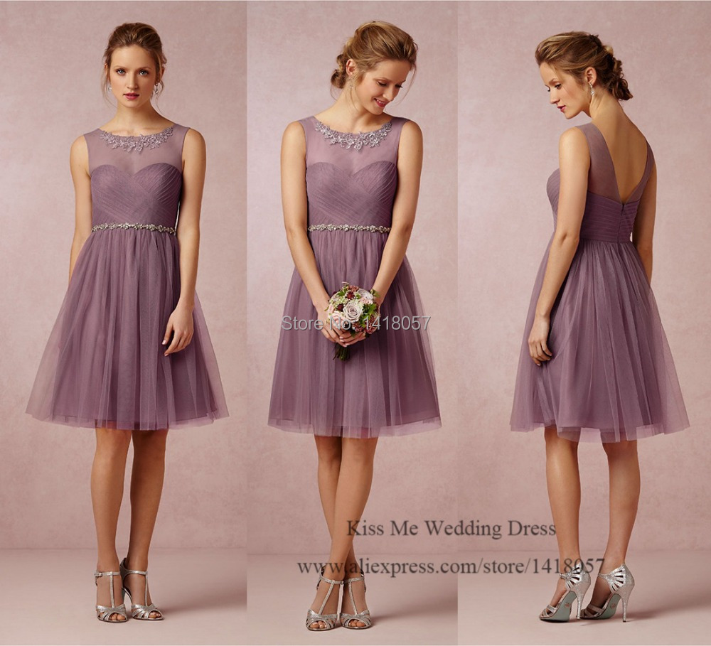 Brown Tulle courtes robes de mariée longueur au genou robe Madrinha de Casamento robe pour Party Over 2015 Wear invité de mariage