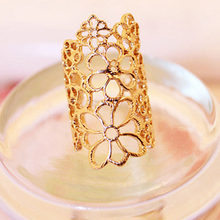 Trendy Hollow Flower Ring Black Gold Silver Midi Finger Knuckle Rings For Women Fashion Punk Vintage Rose Jewelry Accessories(China)