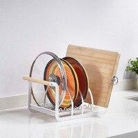 Kitchen Organizer 3 Slots Pan Cutting Board Holder Dish Rack Stand Iron Storage Shelf with Wood Handler Countertop Drying Stand