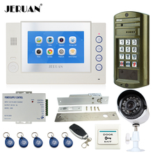 JERUAN 7 INCH TOUCH Screen LCD Video Door Phone Record Intercom System kit+Waterproof Password HD Mini Camera +Analog Camera