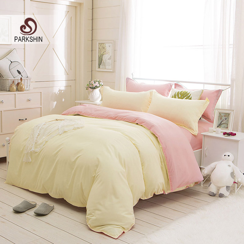 Parkshin Beige And Pink Solid Color Bedding Set Comfortable Plain Double Duvet Cover Set Soft Polyester Flat Sheet Bedclothes