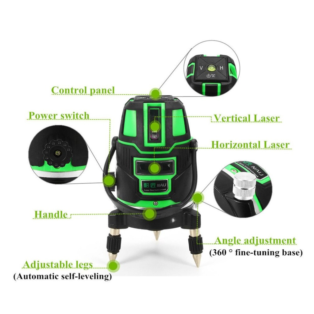 360 Degrees Rotary Laser Level AC or DC Dual Use Shock-proof Cross Green Lines Automatic Self-Leveling Measure Tool Set self dual z4 modules
