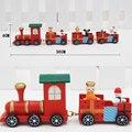Tren Tren De Madera Niños Rojos de Navidad Ornamento de navidad Decoración Del Hogar Los Niños de Juguete de Regalo de Navidad Con El Paquete de Regalo
