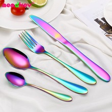 4 pcs Rainbow Dinnerware Set Stainless Steel Cutlery Black Knife Fork Tableware Gold Silver Cutleries Western
