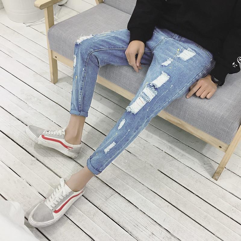 2018 New Spring Summer Fashion Men Ripped Hole Denim Jeans Distressed Print Dot Personal Man Slim Casual Fashion Jean