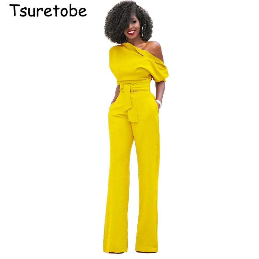 Tsuretobe New Fashion Off the Shoulder Elegant   Jumpsuits   Women Plus Size Rompers Womens   Jumpsuits   Short Sleeve Female Overalls