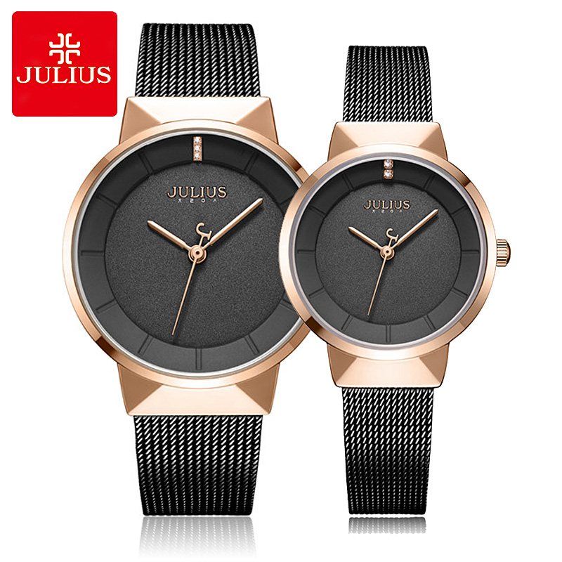 New Thin Men's Watch Women's Watch Japan Quartz Couple Hours Fine Business Classic Stainless Steel Lover's Gift Julius Box