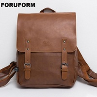High Quality England Vintage Style Frosted PU Leather Men Backpack For College Preppy Style School Backpack