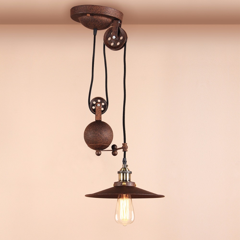 Permo Industrial Loft vintage pendant lights Iron Pulley Lamp Bar Kitchen Home Decoration E27 Edison Light Fixtures