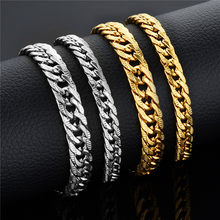 Hip Hop Miami Curb Cuban Link Chain Bracelet Wholesale Braslet 2019 Thick Gold Color Stainless Steel Bracelets For Men/Women(China)
