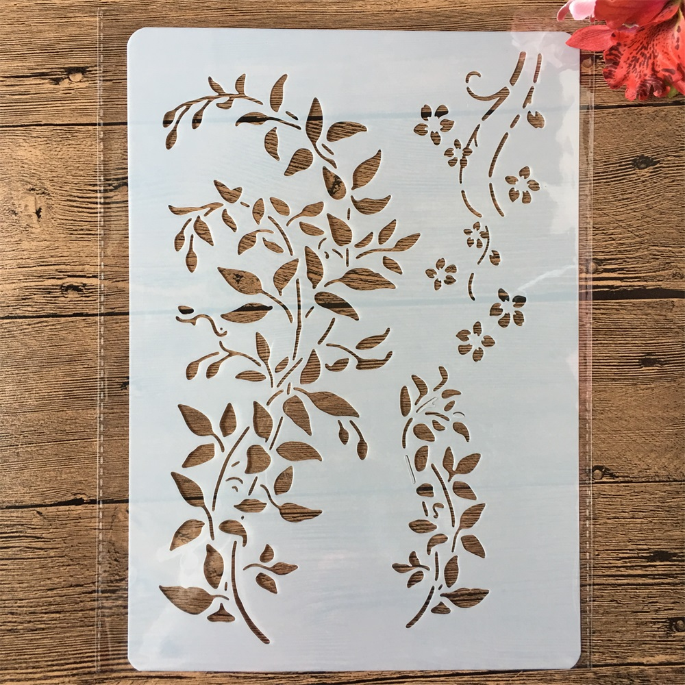 A4 Leaves DIY Craft Layering Stencils Painting Scrapbooking Stamping Embossing Album Paper Card Template