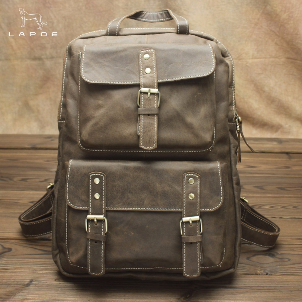 Laptop Men And Women Backpack Genuine Leather Middle Student School Bag For Teenagers High Capacity Designer Famale Men Backpack senkey style designer backpack men high quality 2017 waterproof leather retro laptop backpack women school bags for teenagers
