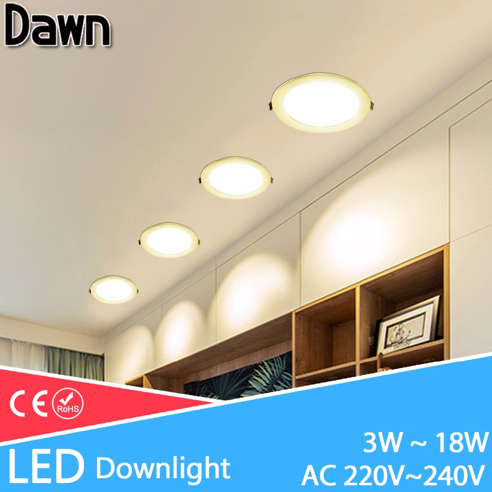 LED Downlight 3w 5w 7w 9w 12w 18w Round Recessed Lamp spot led bulb AC 220V 240V downlight Indoor LED Spot Lighting Kitchen(China)