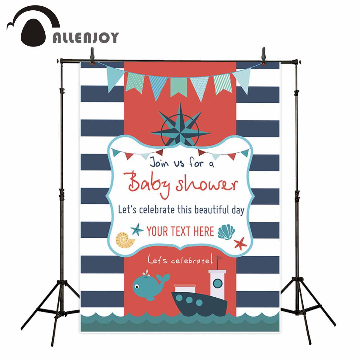 Allenjoy photography backdrops Ocean background blue stripes banners baby shower background photo background background cloths