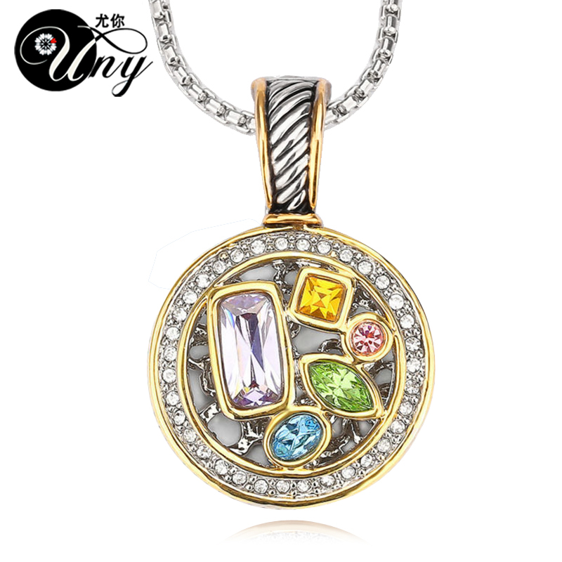 UNY Multicolor Necklaces Pendants Crystal Round Necklace Pendant Women Antique Necklaces Pendants Charms Necklace Pendant
