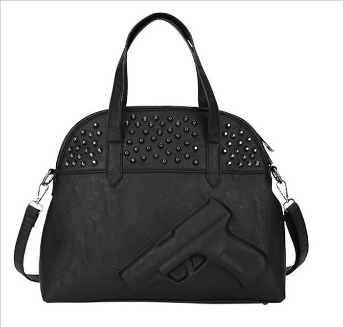 Women  Pistol bag Vlieger vandam style PU Leather Black Handbag Vintage Zipper M
