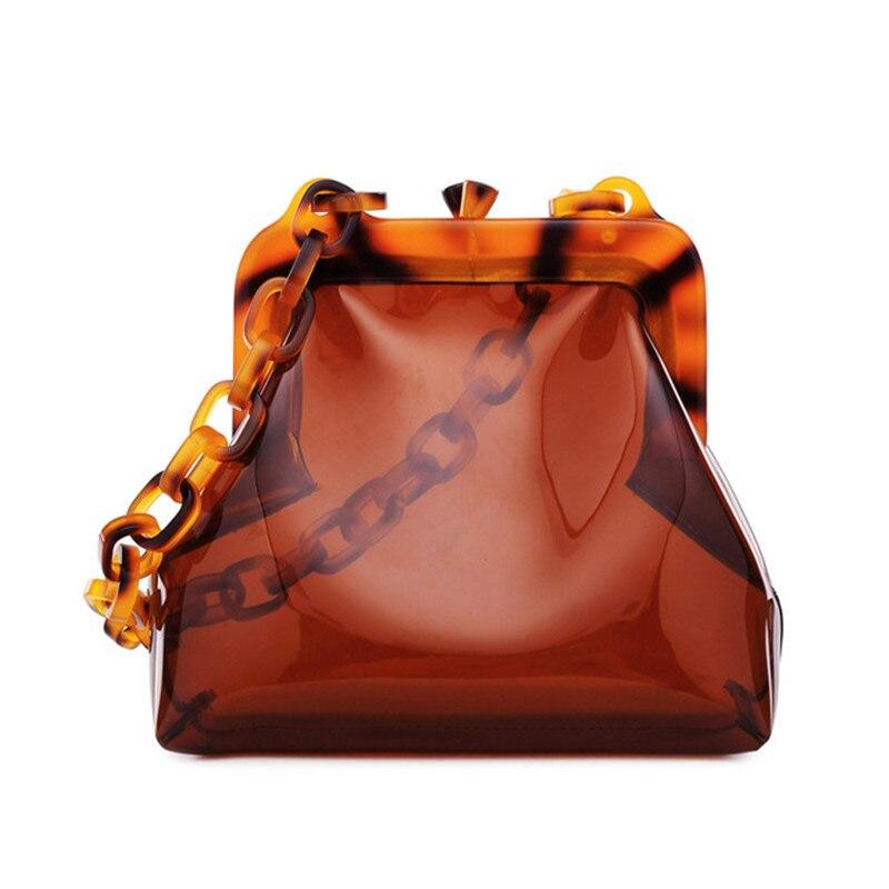 Mode luxe Designer femmes sacs à main chaîne acrylique couleur ambre sac de soirée en PVC pochette femme sac à bandoulière sac à main