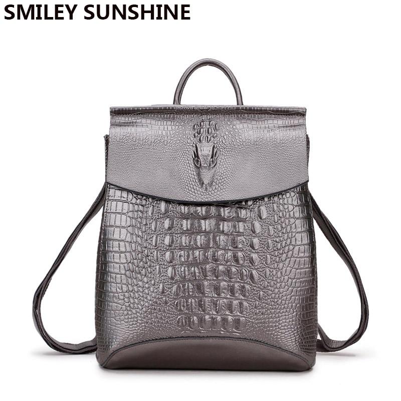 2018 Silverr femmes sacs à dos en cuir véritable pour adolescentes haute qualité sac à dos femme sacs à bandoulière cartable mochila-in Sacs à dos from Baggages et sacs    1