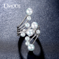 UMODE New Arrival Simulated Pearls Micro CZ simulated Diamond Unique Rings Rhodium Plated Jewelry Bijoux Anel Feminino UR0316