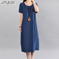 Casual Retro Solid Summer Dress 2018 New Women Elegant Loose Short Sleeve O Neck Dress Cotton
